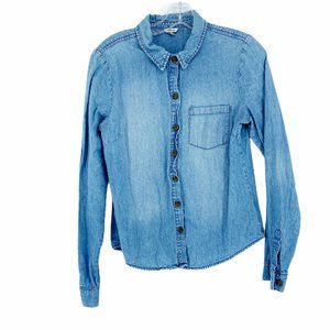 I Love H81 Cotton Chambray Shirt Button Front Long
